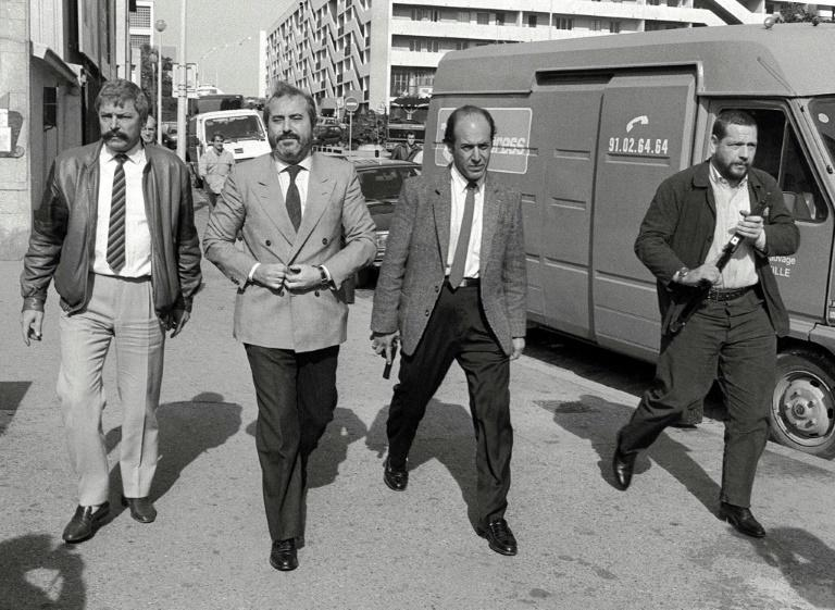 Falcone (2nd from the left) was killed with his wife and three bodyguards when a massive bomb exploded under his motorcade as it drove along a highway outside Palermo, Sicily