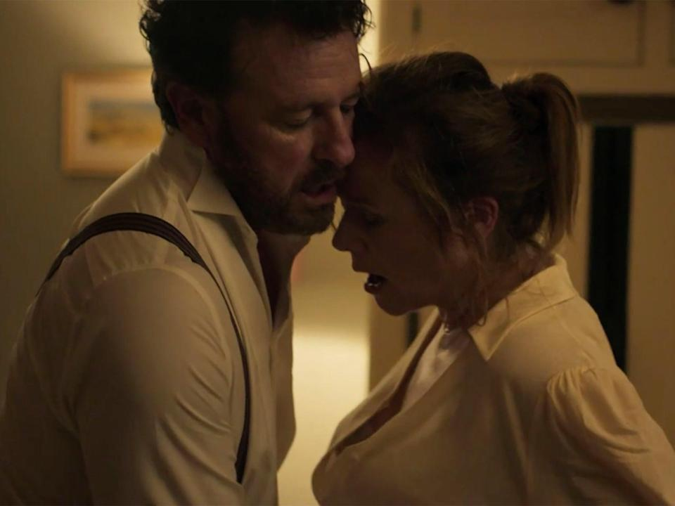 Risteárd Cooper and Emily Watson in the offending sex scene in ITV's Too Close (ITV)