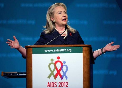 US Secretary of State Hillary Clinton speaks during the 19th International AIDS Conference in Washington, DC