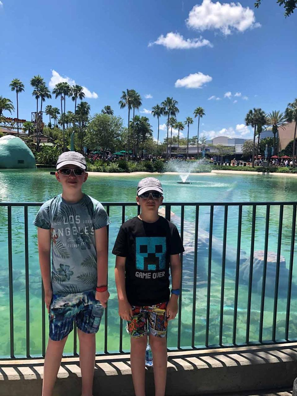 Daniel, left, and his little brother Matthew in Disneyworld, Florida, on a family holiday in May 2019. PA REAL LIFE COLLECT