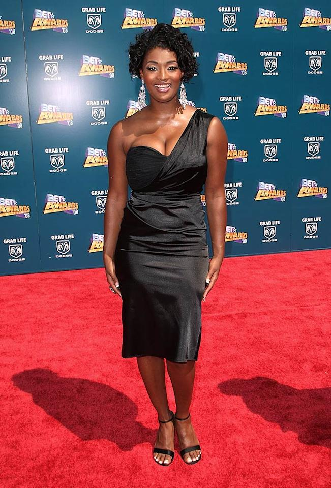 "Former ""America's Next Top Model"" contestant Toccara Jones looked slightly uncomfortable in her wrinkly one-shoulder dress and hair don't. Jason Merritt/<a href=""http://www.filmmagic.com/"" target=""new"">FilmMagic.com</a> - June 24, 2008"