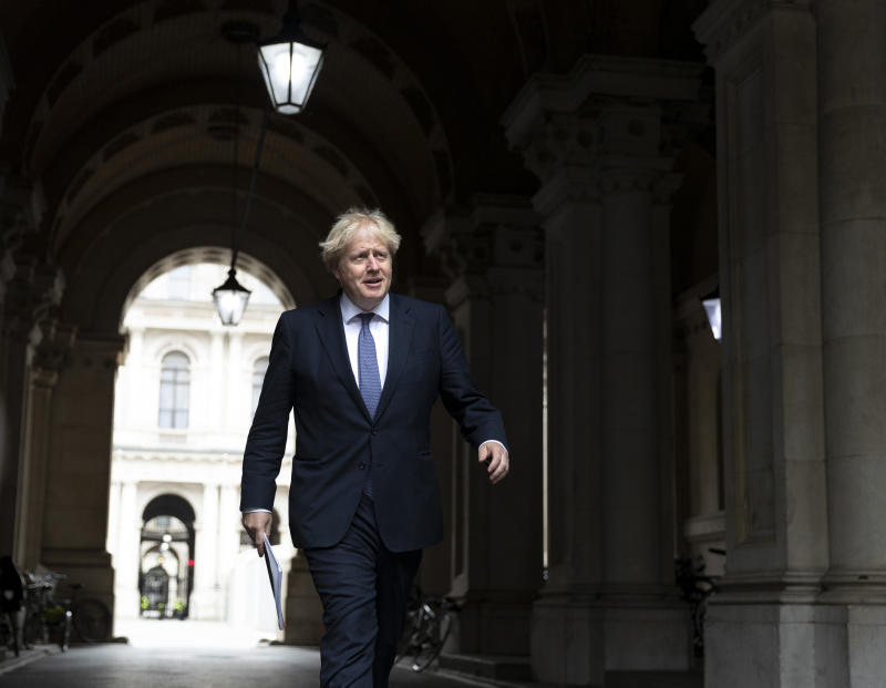 LONDON, Sept. 8, 2020 -- British Prime Minister Boris Johnson walks back to 10 Downing Street in London, Britain, Sept. 8, 2020. Crucial talks aimed at finding a post-Brexit trade deal between Britain and the European Union (EU) opened Tuesday in London. Boris Johnson said Monday that he wants a post-Brexit trade deal agreed with EU by an Oct. 15 deadline, warning that a failure of that could mean London ending its EU membership with no deal. (Photo by Han Yan/Xinhua via Getty) (Xinhua/Han Yan via Getty Images)