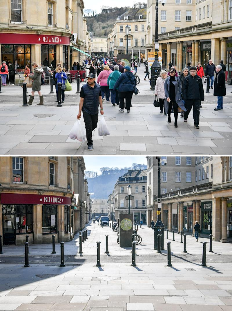 The picturesque streets of Bath empty of people