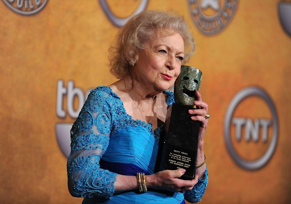 "<p>In 2010, White received the Lifetime Achievement Award at the Screen Actors Guild Awards. During <a href=""https://www.youtube.com/watch?v=__k2z6n4eI4"" rel=""nofollow noopener"" target=""_blank"" data-ylk=""slk:her acceptance speech"" class=""link rapid-noclick-resp"">her acceptance speech</a>, she said, ""I should be presenting an award to you for the privilege of working in this wonderful business all this time. And you still can't get rid of me! I was only 88 last Sunday, so I've got lots more stuff to do.""<br></p>"