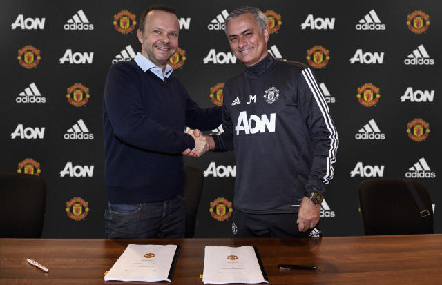 Jose Mourinho only signed a new deal with earlier this year, pictured here with Ed Woodward