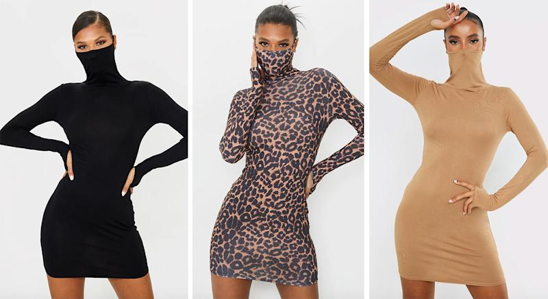 PrettyLittleThing restocks sell out mini dress with in built face covering. (PrettyLittleThing/Yahoo Style UK)
