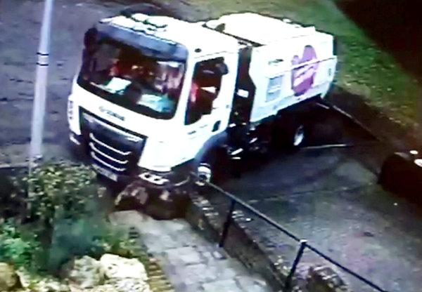 A council cleaning truck was caught on camera knocking a resident's wall down then feeling (swns)