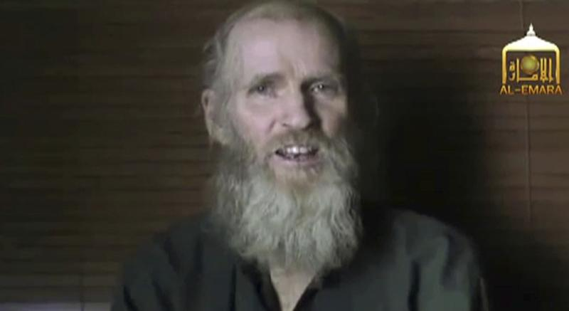 In the 2017 video released by the Taliban, Tim Weeks and Kevin King (pictured) say they were being treated well by the Taliban but that they remain prisoners and appeal to their governments to help set them free.Source: EL-EMARA Taliban via AP.