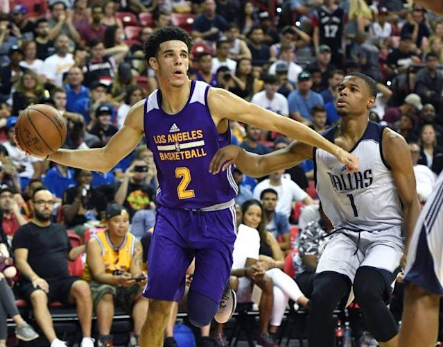 "<a class=""link rapid-noclick-resp"" href=""/ncaab/players/136151/"" data-ylk=""slk:Lonzo Ball"">Lonzo Ball</a> and Dennis Smith Jr. might have been the two most impressive players at the Las Vegas summer league. (Getty)"