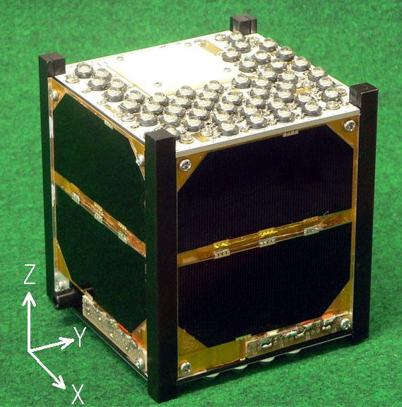 Flashing FITSAT-1 was built by Japan's Fukuoka Institute of Technology.