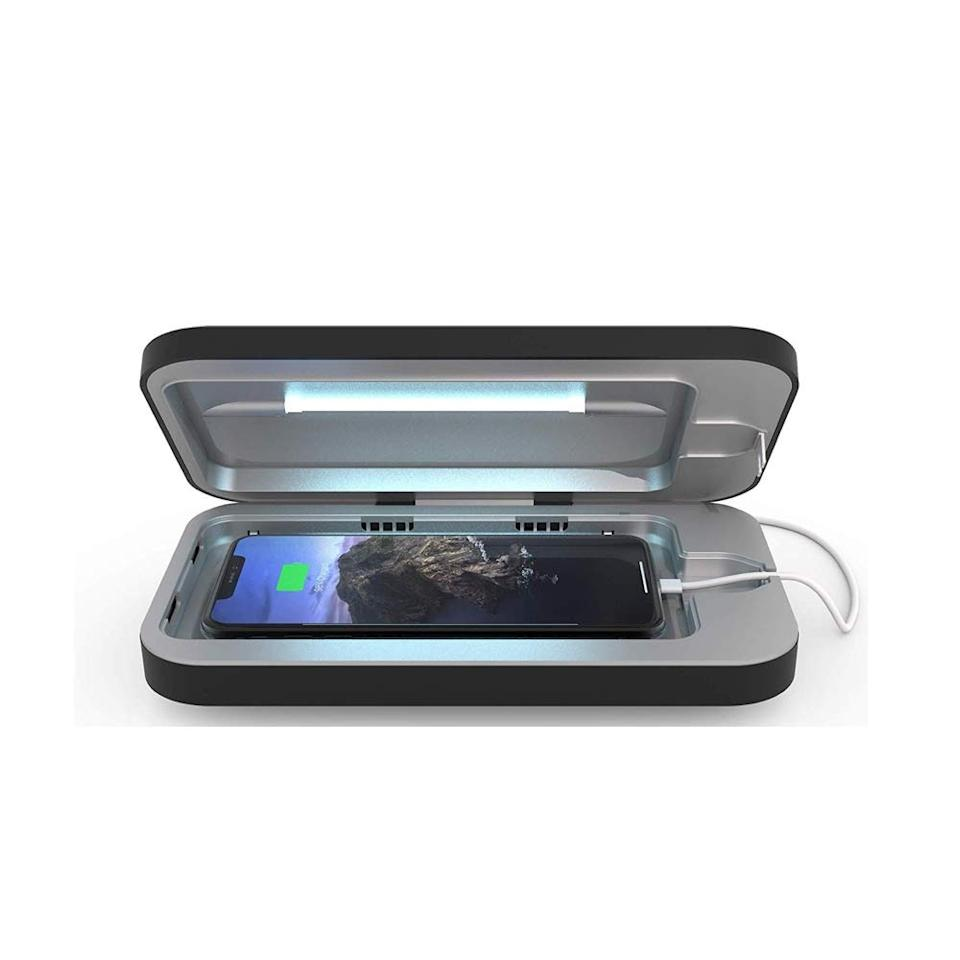 """If you're looking for a high-tech fix for sneaky phone bacteria, this UV sanitizer zaps your device so you don't have to touch anything. It's effective and reaches every nook and cranny, so it's perfect for those who want to be extra careful during this time. $80, Uncommon Goods. <a href=""""https://www.uncommongoods.com/product/phonesoap-smartphone-sanitizer"""">Get it now!</a>"""