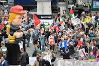 Protestors gather in Trafalgar Square, London on the second day of the state visit to the UK by US President Donald Trump. (Photo by Jacob King/PA Images via Getty Images)