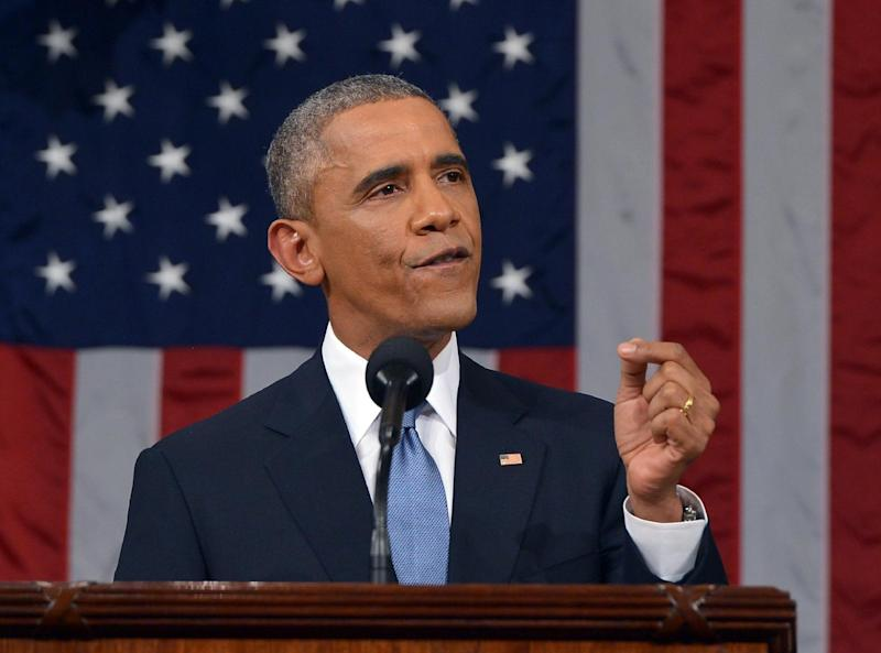 US President Barack Obama delivers the State of The Union address on January 20, 2015, at the US Capitol in Washington (AFP Photo/Mandel Ngan)