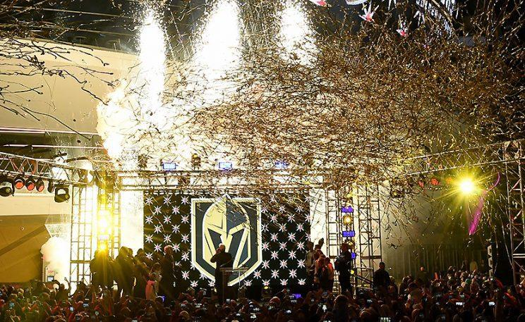 LAS VEGAS, NV - NOVEMBER 22: Pyrotechnics and streamers are fired into the air as the Vegas Golden Knights is announced as the name for the Las Vegas NHL franchise at T-Mobile Arena on November 22, 2016 in Las Vegas, Nevada. The team will begin play in the 2017-18 season. (Photo by Ethan Miller/Getty Images)