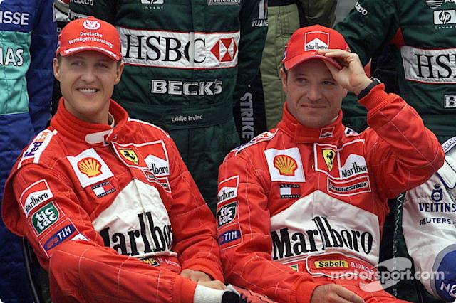 "Presentación de pilotos: Michael Schumacher y Rubes Barrichello <span class=""copyright"">Ferrari Media Center</span>"