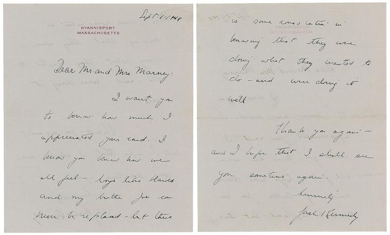 One of the many letters John F. Kennedy sent to Mrs. Marney. | The Ronnie Paloger JFK Collection / RR Auction