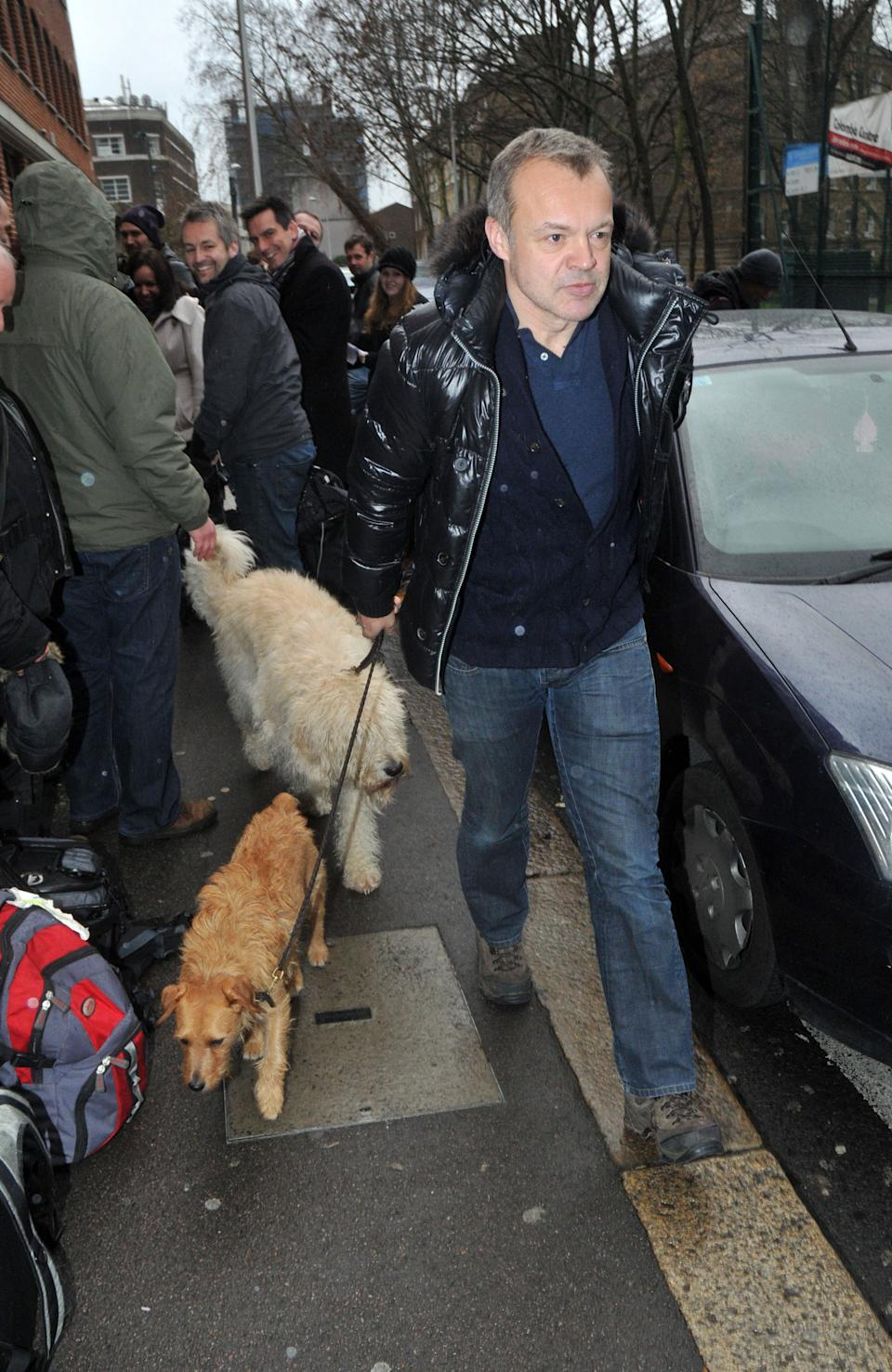 Graham Norton walks his dogs on the southbank on January 27, 2011 in London, England. (Photo by SAV/FilmMagic)