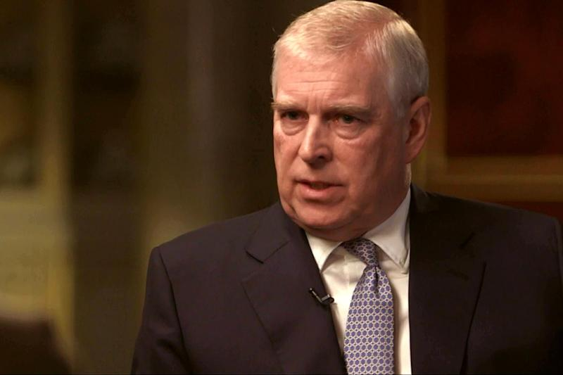 Grilling: Prince Andrew during his interview on Newsnight