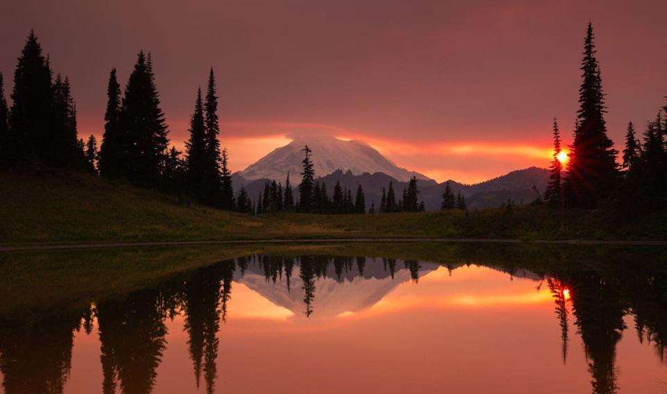 """<p>This popular alpine hiking trail is a nature lover's dream come true: Wildflower fields, the beautiful Tipsoo Lake, and a striking view of Washington's Mount Rainier all greet hikers along the <a href=""""http://www.wta.org/go-hiking/hikes/naches-peak-loop"""" rel=""""nofollow noopener"""" target=""""_blank"""" data-ylk=""""slk:Naches Peak Loop"""" class=""""link rapid-noclick-resp"""">Naches Peak Loop</a>. Late-summer visitors will find more blue lupine, white bistort, and magenta paintbrush than those who visit at any other time of year.</p>"""