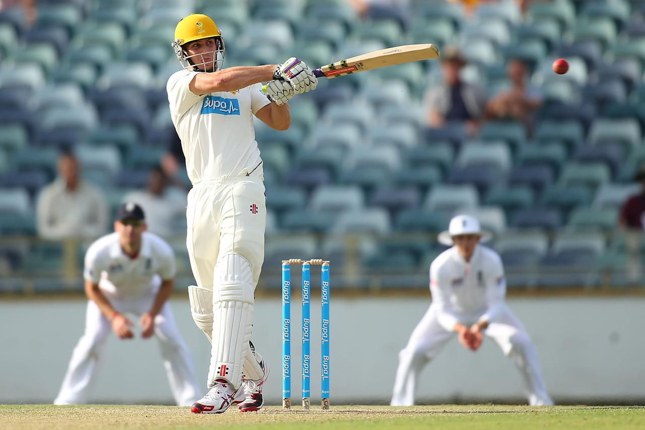 PERTH, AUSTRALIA - OCTOBER 31:  Mitchell Marsh of Western Australia bats during day one of the Tour match between Western Australia XI and England at WACA on October 31, 2013 in Perth, Australia.  (Photo by Paul Kane/Getty Images)