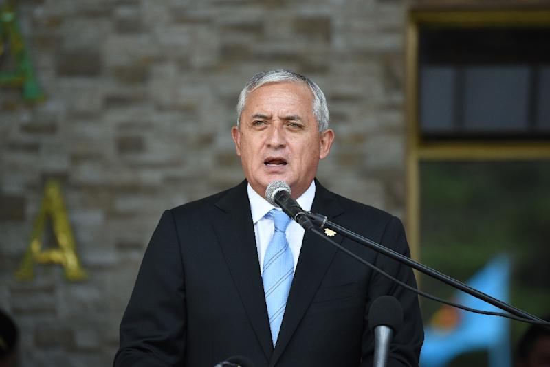 Guatemalan President Otto Perez Molina speaks during the swearing in ceremony of the new Defence Minister William Mancilla, in Guatemala City, August 14, 2015