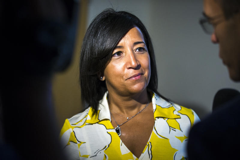BOSTON - SEPTEMBER 30: Boston Red Sox Senior Vice President, Major and Minor League Operations Raquel Ferreira speaks with reporters during an end-of-season press conference at Fenway Park in Boston on Sep. 30, 2019. (Photo by Nic Antaya for The Boston Globe via Getty Images)