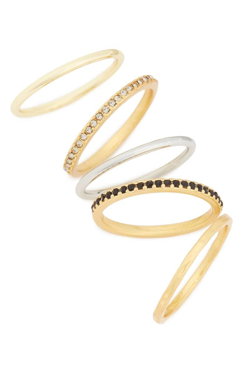 "This five-in-one gift is tailor-made for the person who can never have enough rings. $28, Nordstrom. <a href=""https://shop.nordstrom.com/s/madewell-set-of-5-filament-stacking-rings/4548510?origin=category-personalizedsort&breadcrumb=Home%2FHoliday%20Gifts%2FGifts%20Under%20%2450&color=vintage%20gold"" rel=""nofollow noopener"" target=""_blank"" data-ylk=""slk:Get it now!"" class=""link rapid-noclick-resp"">Get it now!</a>"