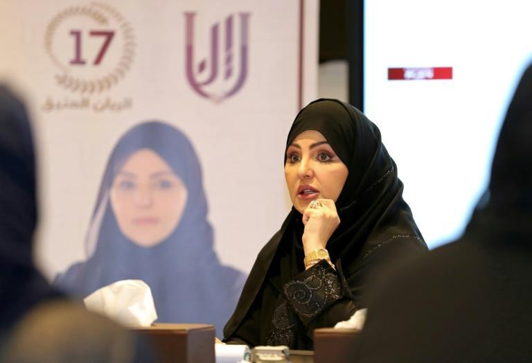 Candidate for Qatar's Shura council elections Leena Nasser al-Dafa attends a campaign event in Doha ahead of the vote (AFP/-)