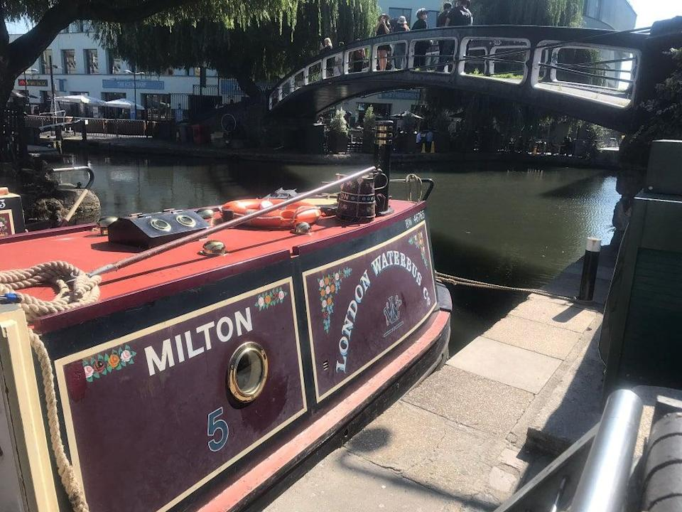 Tourists queued to ride narrowboats along a North London canal (Supplied)