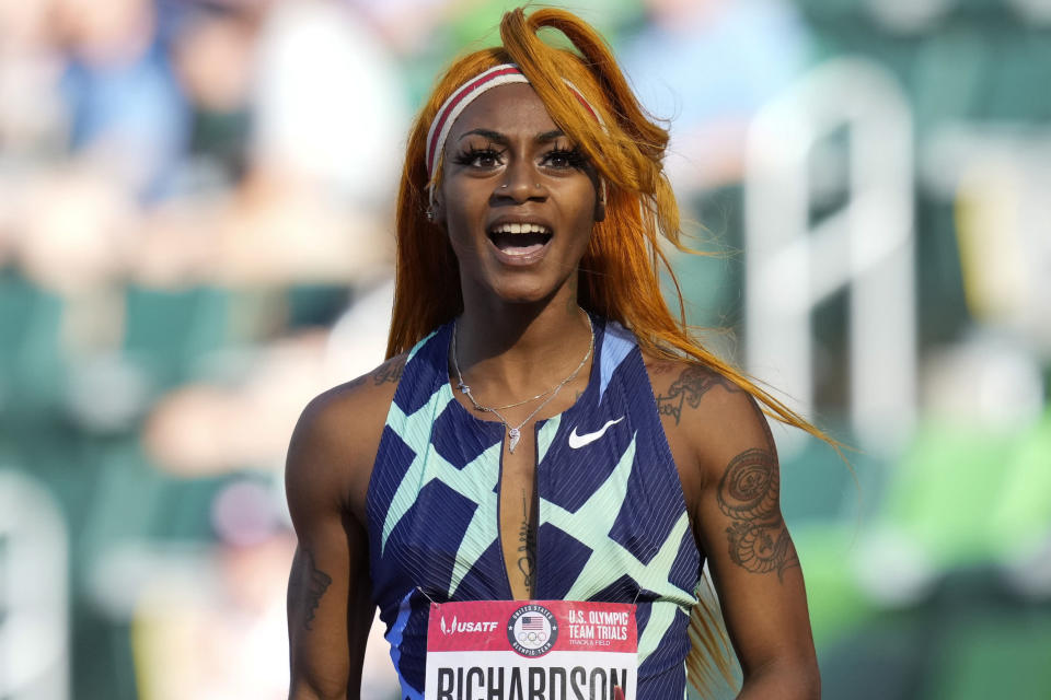 FILE - In this June 19, 2021, photo, Sha'Carri Richardson celebrates after winning the first heat of the semis finals in women's 100-meter run at the U.S. Olympic Track and Field Trials in Eugene, Ore. From doping, to demonstrations to dirty officials, the Olympics have never lacked their share of off-the-field scandals and controversies that keep the Games in the headlines long after the torch goes out. Only weeks before the start of the Olympics, the ban of American sprinter Richardson for a positive marijuana test fueled a debate about whether that drug — not considered a performance enhancer and now legal in some parts of the globe — should be forbidden anymore. (AP Photo/Ashley Landis, File)