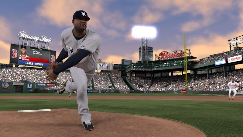 "In this video game image released by Sony, an animated rendering of New York Yankees ace C.C. Sabathia is shown pitching in Boston's Fenway Park in ""MLB 12: The Show.""  (AP Photo/Sony)"