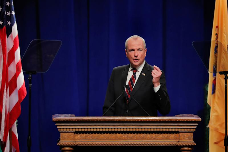 New Jersey Governor Phil Murphy speaks after taking the oath of office in Trenton, New Jersey, U.S., January 16, 2018. REUTERS/Lucas Jackson