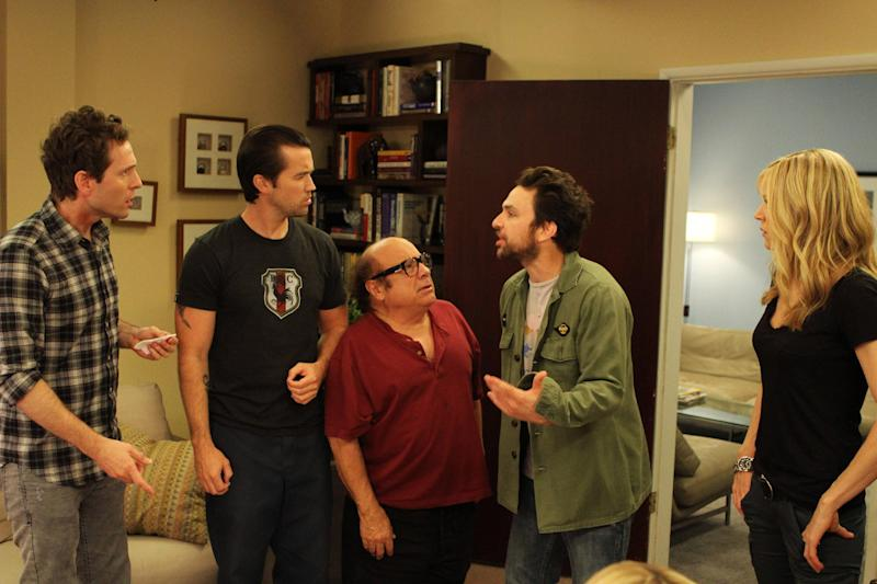 """This publicity photo released by FX shows, from left, Glenn Howerton as Dennis Reynolds, Rob McElhenney as Mac, Danny DeVito as Frank Reynolds, Charlie Day as Charlie Kelly and Kaitlin Olson as Dee Reynolds in Episode 5, """"The Gang Gets Analyzed"""" from the TV show, """"It's Always Sunny in Philadelphia,"""" which airs Thursday, November 8, 10:00 pm EDT/PDT. (AP Photo, FX, Patrick McElhenney)"""