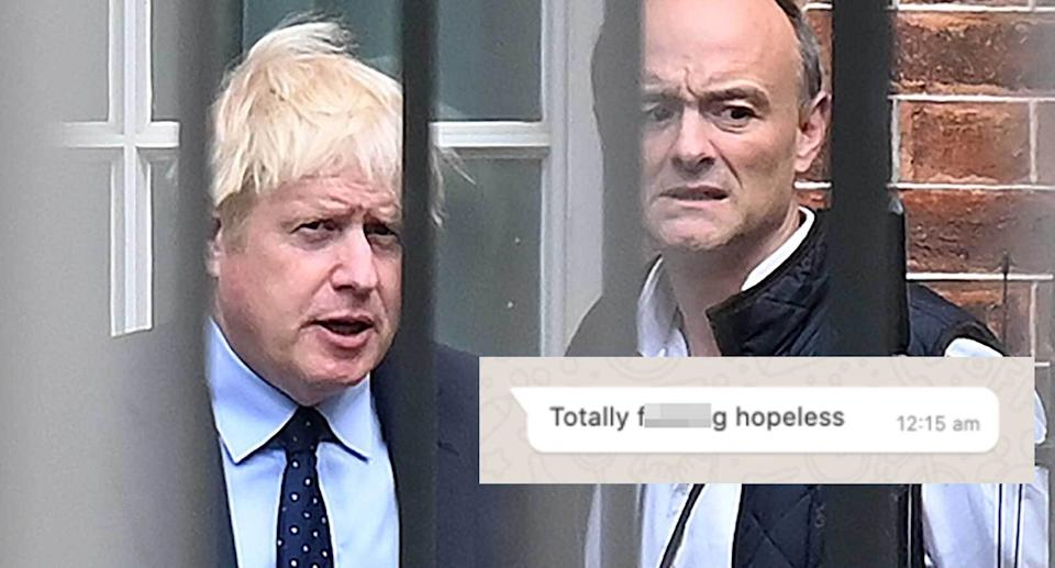 'Totally f***ing hopeless': Dominic Cummings has leaked this message from Boris Johnson about Matt Hancock. (Getty Images/Dominic Cummings)