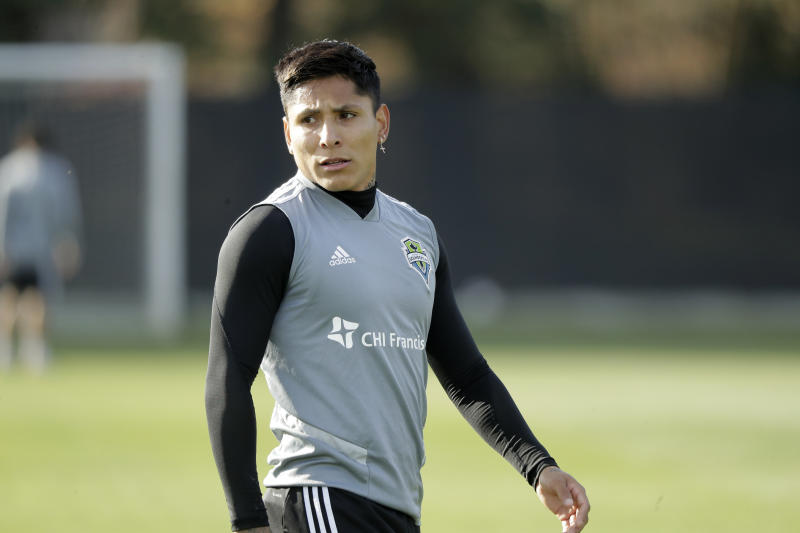 Seattle Sounders forward Raul Ruidiaz walks on the pitch during a training session Friday, Nov. 8, 2019, in Tukwila, Wash. The Sounders will face Toronto FC on Sunday in the MLS Cup soccer match at CenturyLink Field in Seattle. (AP Photo/Ted S. Warren)