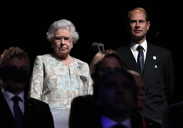 LONDON, ENGLAND - AUGUST 29: Queen Elizabeth II and Prince Edward look on during the London 2012 Paralympic Games Opening Ceremony on August 29, 2012 in London, England. (Photo by Jan Kruger/Getty Images for IPC)
