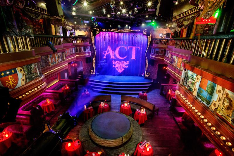 This image provided by The Act nightclub shows the interior of the club located at the Palazzo hotel-casino on the Las Vegas Strip. The Palazzo is hoping to terminate their 10-year agreement with the nightclub after 10 months of operation. They say the shows at the venue inside the Palazzo are so raunchy they violate obscenity laws. (AP Photo/The Act Nightclub, Shane O'Neal)