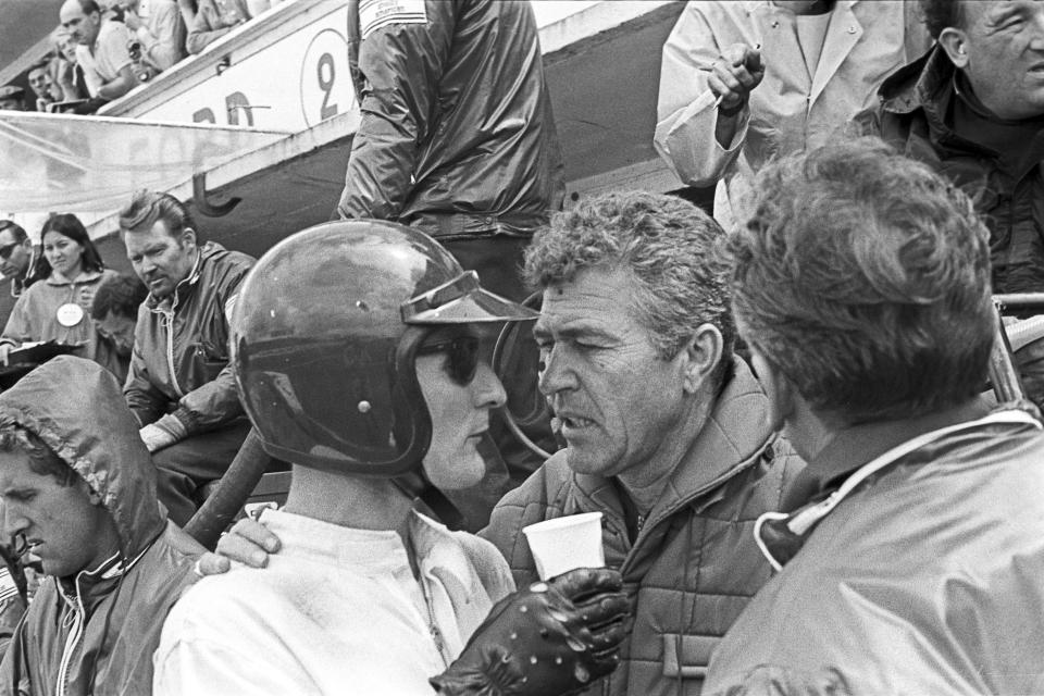 Ken Miles, Carroll Shelby, 24 Hours of Le Mans, Le Mans, 19 June 1966. Ken Miles with Carroll Shelby during the 1966 24 Hours of Le Mans. (Photo by Bernard Cahier/Getty Images)