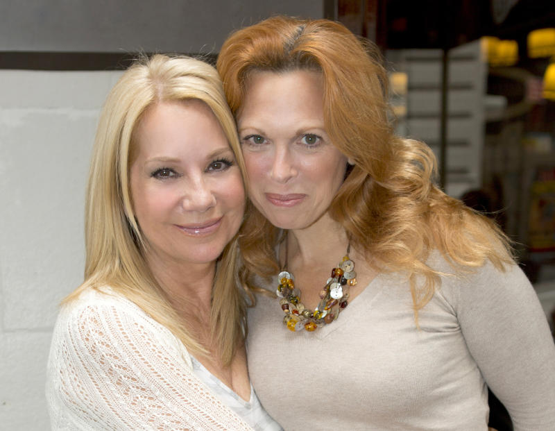 """This Aug. 2012 photo released by The Publicity Office shows Kathie Lee Gifford, left, and Carolee Carmello in New York. In addition to Gifford's job on the fourth hour of the """"Today"""" show, she's also putting the finishing touches on the lyrics and book of a new Broadway musical. It's about the controversial 1920s-era Pentecostal evangelist Aimee Semple McPherson, portrayed by Carmello.  (AP Photo/The Publicity Office, Jeremy Daniel)"""