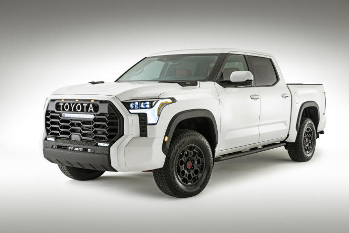 This photo provided by Toyota shows the 2022 Tundra. A full redesign this year brings about more powerful engines and increased maximum towing and payload capacities. (Toyota Motor Sales U.S.A. via AP)