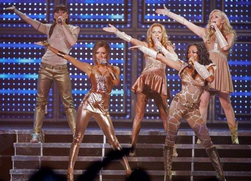 "British pop band the Spice Girls perform at the O2 Arena in London, 2009. The Spice Girls are rumoured to be among a diverse wealth of acts lined up for Sunday's Olympic Games closing ceremony, entitled ""A Symphony of British Music"""