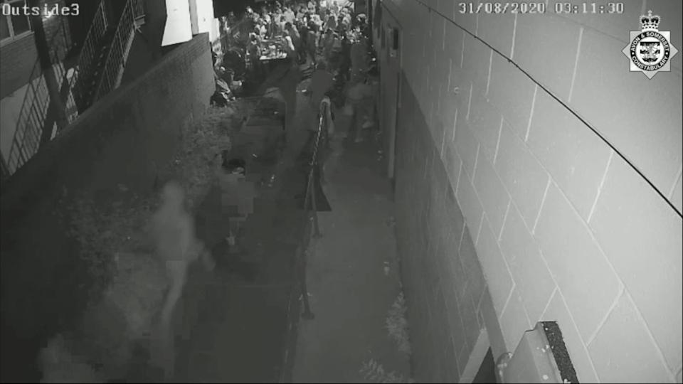 CCTV footage released by police showed Andre being chased through a large crowd by his attackers (swns)