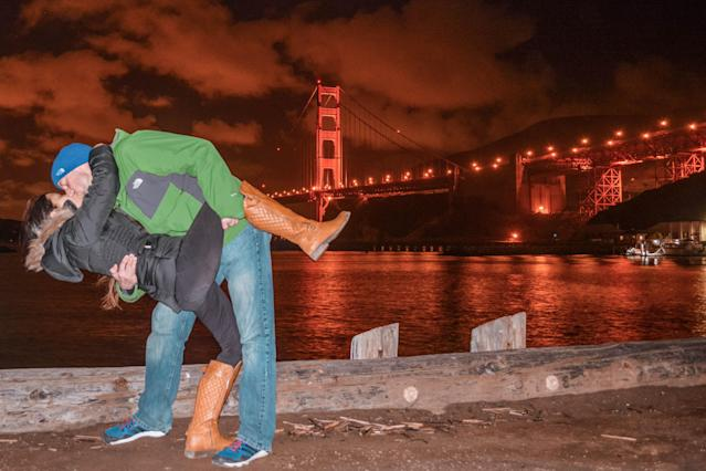 <p>The Switzers at the Golden Gate Bridge, San Francisco. (Caters News) </p>