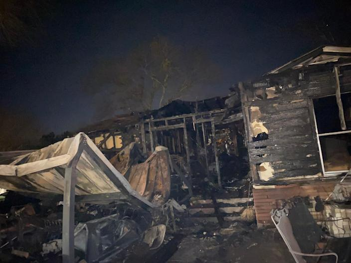 Edelmira and Bianca Rivera's home in Waco, Texas, burned down on Jan. 15, 2021.