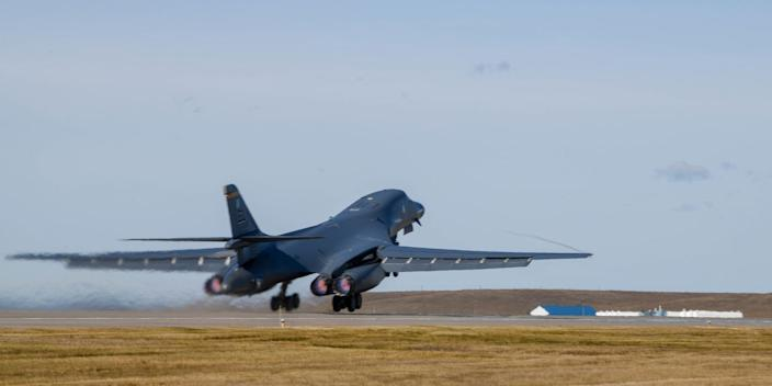 A B-1B Lancer takes off from Ellsworth Air Force Base in South Dakota, October 24, 2019.