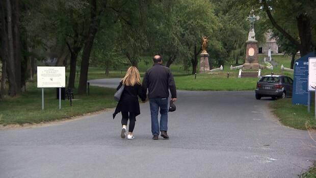 The front gates are open from to 8 a.m. to 5 p.m. on Monday through Saturday, and people are threatened with fines if they enter the property outside of those hours. (CBC - image credit)
