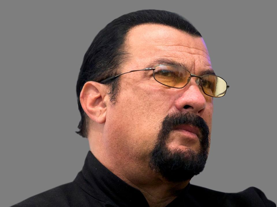 Steven Seagal headshot, actor, graphic element on gray