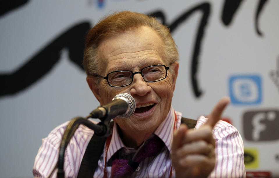 FILE - In this May 25, 2011 file photo, Larry King answers reporters' question at a press conference for Seoul Digital Forum in Seoul, South Korea. King, who interviewed presidents, movie stars and ordinary Joes during a half-century in broadcasting, has died at age 87. Ora Media, the studio and network he co-founded, tweeted that King died Saturday, Jan. 23, 2021 morning at Cedars-Sinai Medical Center in Los Angeles. (AP Photo/Lee Jin-man, File)