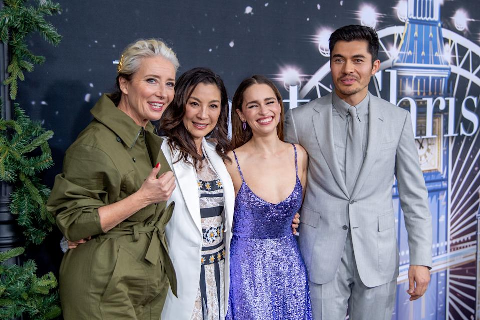 """NEW YORK, NEW YORK - OCTOBER 29: (L-R) Emma Thompson, Michelle Yeoh, Emilia Clarke, Henry Golding and Paul Feig attend the """"Last Christmas"""" New York Premiere at AMC Lincoln Square Theater on October 29, 2019 in New York City. (Photo by Roy Rochlin/Getty Images)"""