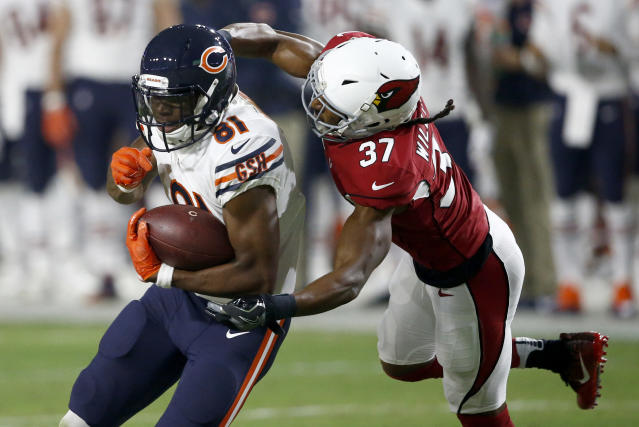 """Wide receiver <a class=""""link rapid-noclick-resp"""" href=""""/nfl/players/28697/"""" data-ylk=""""slk:Cameron Meredith"""">Cameron Meredith</a> (81) won't be a primary target with the Saints, but provides a lot of fantasy upside. (AP Photo/Ross D. Franklin)"""
